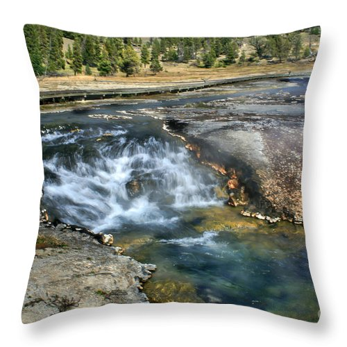 Water Falls Throw Pillow featuring the photograph Outlet Firehole Lake by Robert Bales