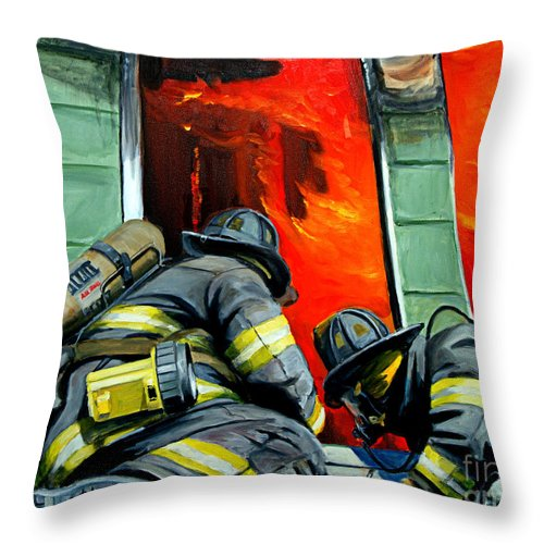 Firefighting Throw Pillow featuring the painting Outside Roof by Paul Walsh