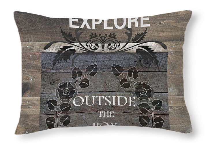 Updated Farmhouse Throw Pillow featuring the mixed media Outside The Box by Robin-Lee Vieira
