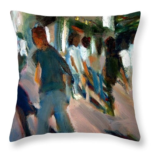 Dornberg Throw Pillow featuring the painting Outside The Theatre by Bob Dornberg