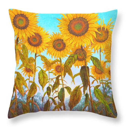 Sunflowers Throw Pillow featuring the painting Ovation Sunflowers by Wiley Purkey