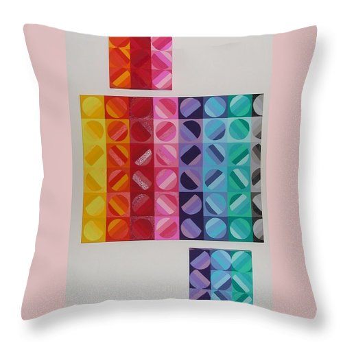 Multi Colored Circles Painting Throw Pillow featuring the painting Over And Under The Rainbow by Gay Dallek