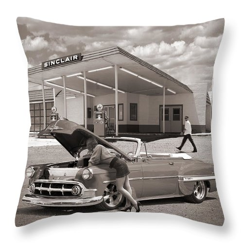 Street Rods Throw Pillow featuring the photograph Over Heating At The Sinclair Station Sepia by Mike McGlothlen