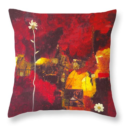 Abstract Throw Pillow featuring the painting Over The Broken Fence by Ruth Palmer