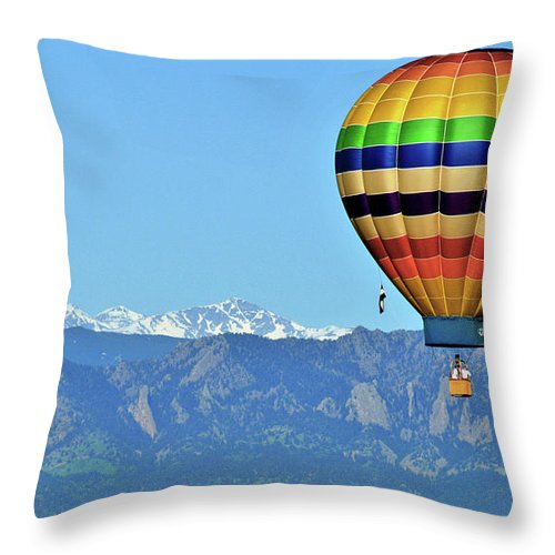 Hot Air Balloon Throw Pillow featuring the photograph Over The Flatirons by Scott Mahon