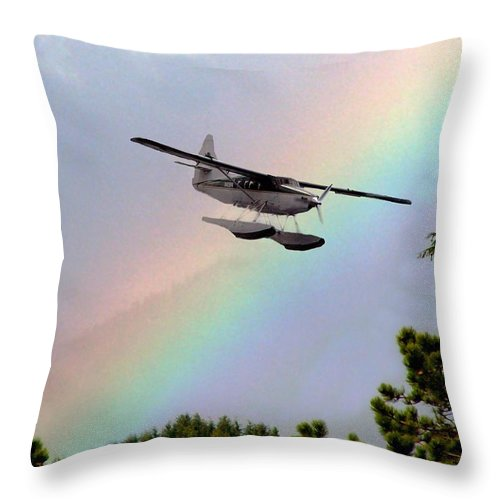 Rainbow Throw Pillow featuring the digital art Over The Rainbow by Kenna Westerman