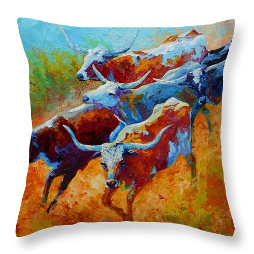 Western Throw Pillow featuring the painting Over The Ridge - Longhorns by Marion Rose