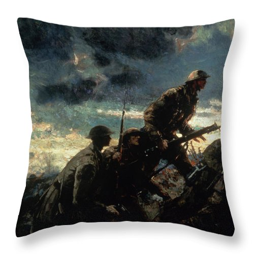 Over The Top Throw Pillow featuring the painting Over the Top by Alfred Bastien