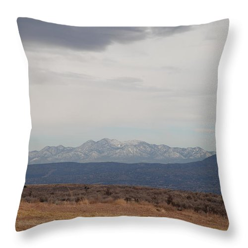 Mountains Throw Pillow featuring the photograph Overcast On The Sandias by Rob Hans