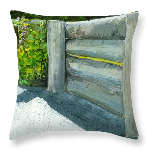 Watercolor Throw Pillow featuring the painting Overcoming The Wall by Lynn Babineau
