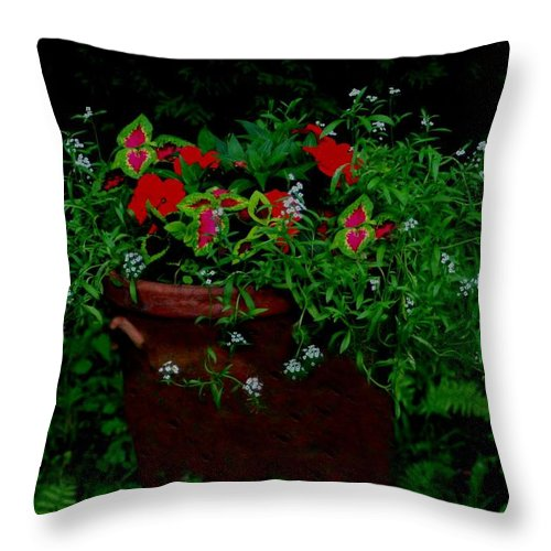 Flowers Throw Pillow featuring the photograph Overflow by Barbara S Nickerson