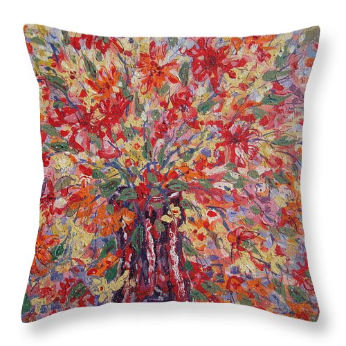 Painting Throw Pillow featuring the painting Overflowing Flowers. by Leonard Holland