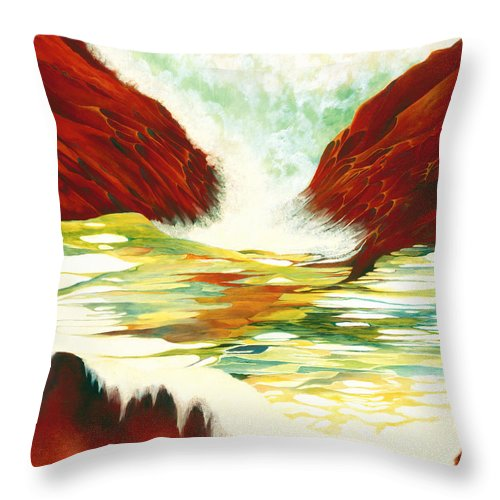 Oil Throw Pillow featuring the painting Overflowing by Peggy Guichu