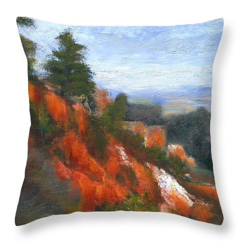 Southwest Throw Pillow featuring the painting Overlook by Gail Kirtz