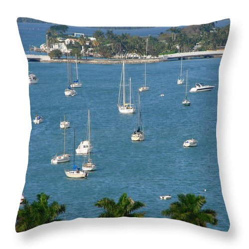 Landscape Throw Pillow featuring the photograph Overlooking A Miami Marina by Margaret Bobb