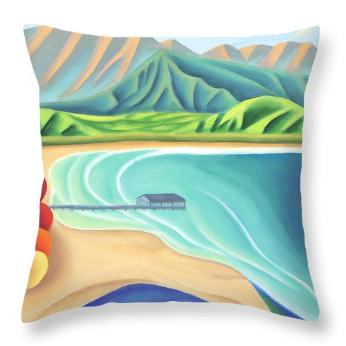 Landscape Throw Pillow featuring the painting Overlooking Hanalei Bay by Lynn Soehner