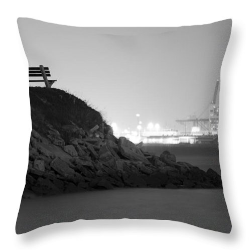 Overlooking Industry Charleston South Carolina Night Photography Dustin Ryan Park Benche Water Light Throw Pillow featuring the photograph Overlooking Industry by Dustin K Ryan