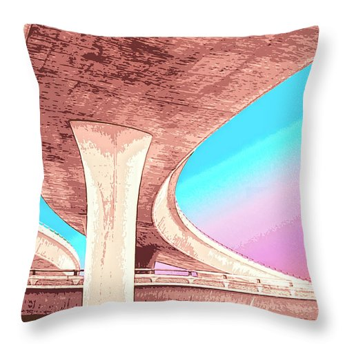 Overpass Throw Pillow featuring the mixed media Overpass Two by Dominic Piperata