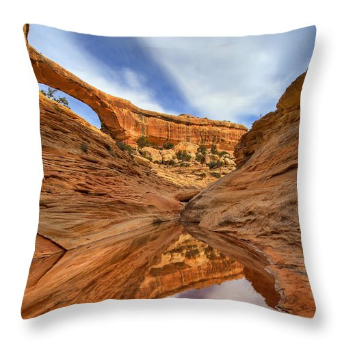 Bridge Throw Pillow featuring the photograph Owachomo Reflected by Mike Dawson