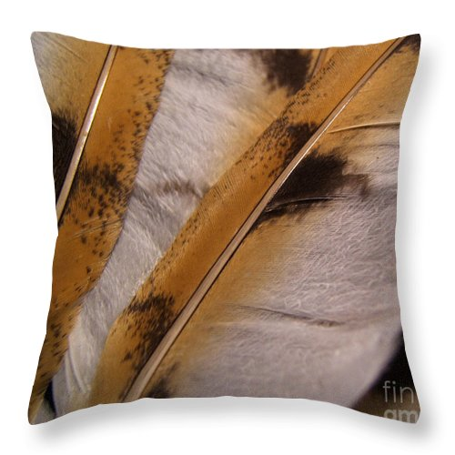 Artoffoxvox Throw Pillow featuring the photograph Owl Feathers Photograph by Kristen Fox