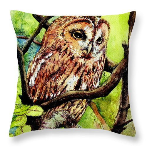 Bird Throw Pillow featuring the painting Owl From Butterfingers And Secrets by Morgan Fitzsimons