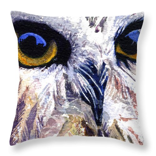 Eye Throw Pillow featuring the painting Owl by John D Benson