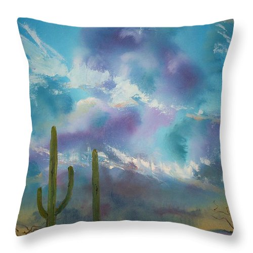 Southwest Throw Pillow featuring the painting Owl Parking Only by Patrick Trotter