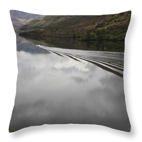 Oxbow Throw Pillow featuring the photograph Oxbow Reservoir Wake by Idaho Scenic Images Linda Lantzy