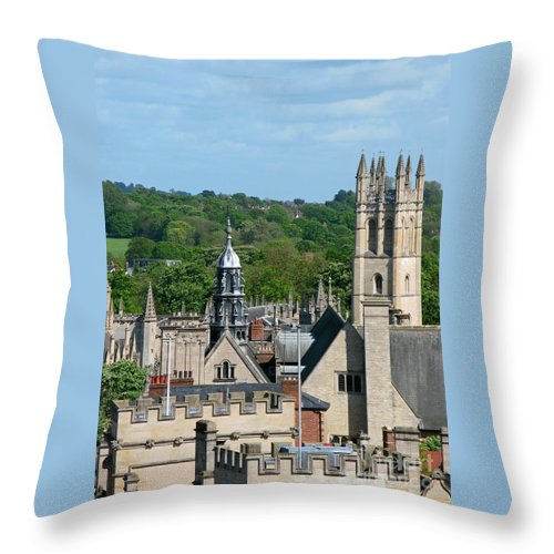 Oxford Throw Pillow featuring the photograph Oxford Tower View by Ann Horn