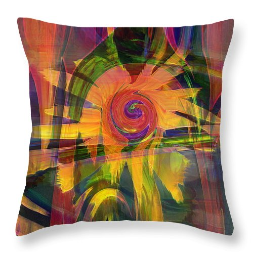 Abstract Art Throw Pillow featuring the digital art Oz And Poppies by Linda Sannuti