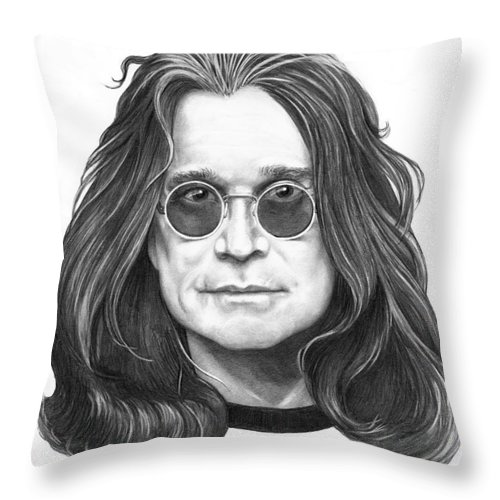 Ozzy Throw Pillow featuring the drawing Ozzy Osbourne by Murphy Elliott