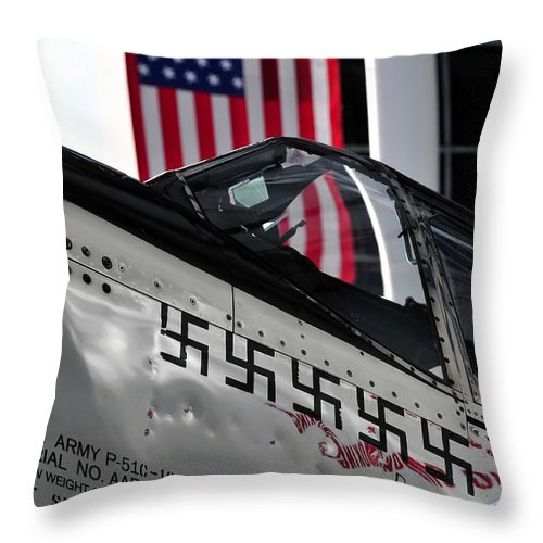 P 51 Mustang Throw Pillow featuring the photograph P 51 Mustang by David Lee Thompson