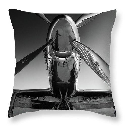 P51 Throw Pillow featuring the photograph P-51 Mustang by John Hamlon