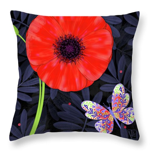 Letter Throw Pillow featuring the mixed media P Is For Pretty Poppy by Valerie Drake Lesiak
