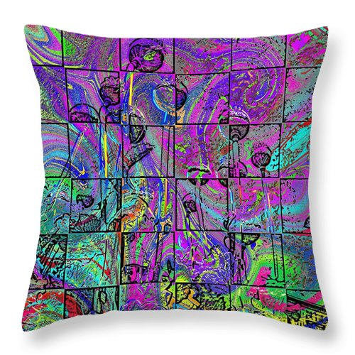 Poppies Throw Pillow featuring the digital art P Patch Poppies 2 by Tim Allen