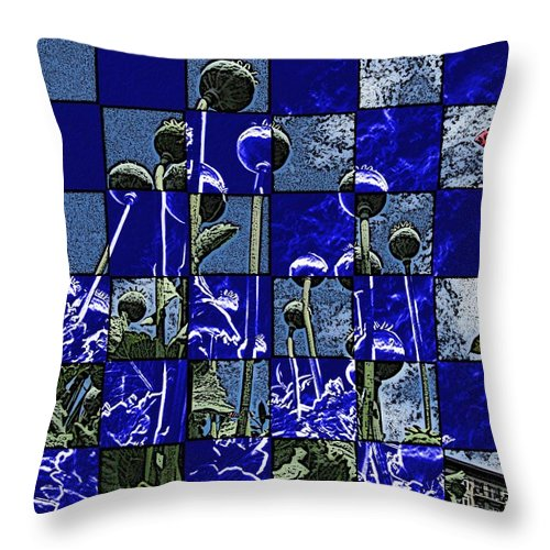 Poppies Throw Pillow featuring the digital art P Patch Poppies by Tim Allen