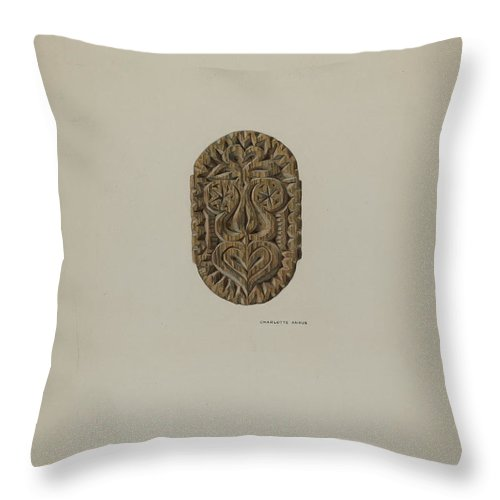 Throw Pillow featuring the drawing Pa. German Block Used In Pressing And Steaming by Charlotte Angus