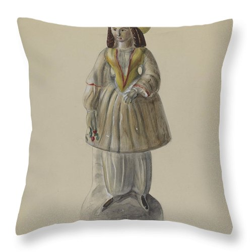 Throw Pillow featuring the drawing Pa. German Chalkware Bloomer Girl by Mina Lowry