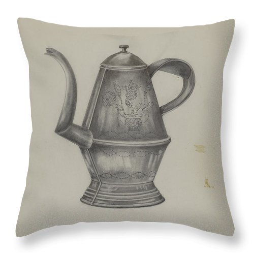 Throw Pillow featuring the drawing Pa. German Coffee Pot by Florence Stevenson