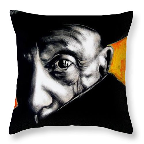 Throw Pillow featuring the mixed media Pablo by Chester Elmore