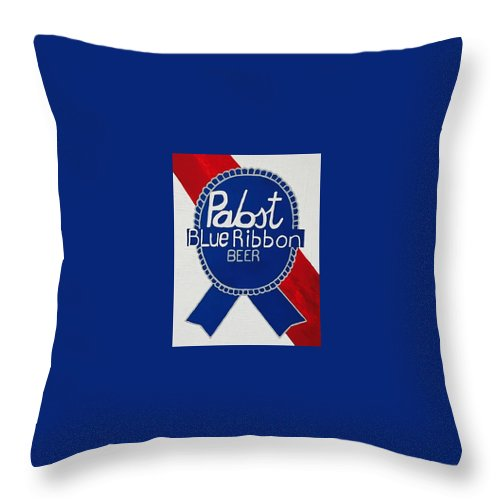 Pabst Blue Ribbon Beer Throw Pillow featuring the painting Pabst Blue Ribbon Beer. by Jonathon Hansen