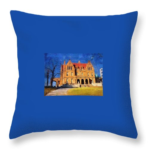 Architecture Throw Pillow featuring the digital art Pabst Mansion by Anita Burgermeister