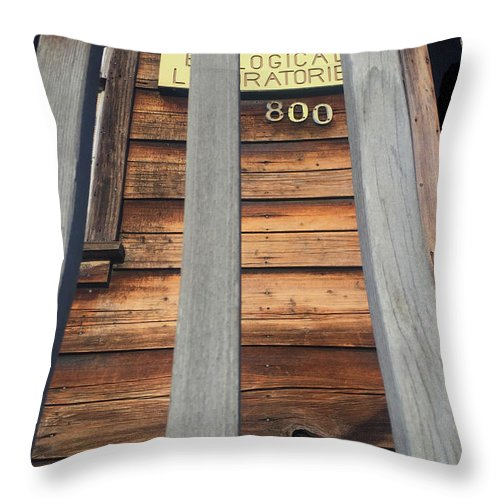 Pacific Biological Laboratories Throw Pillow featuring the photograph Pacific Biological Laboratories 800 Cannery Row, Monterey 2016 by California Views Archives Mr Pat Hathaway Archives