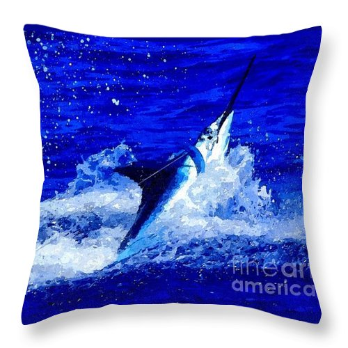 Pacific Blue Throw Pillows : Pacific Blue Marlin Splash Throw Pillow for Sale by Jennifer Capo