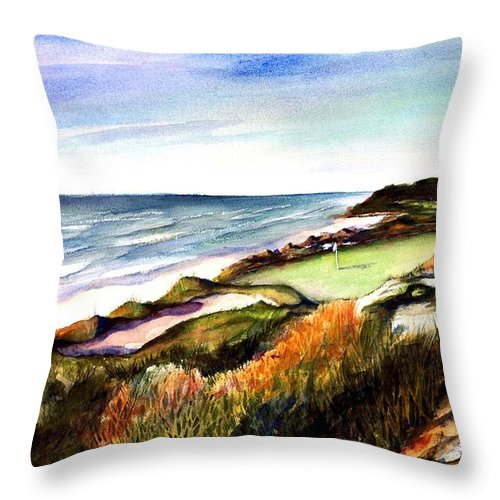 Golf Throw Pillow featuring the painting Pacific Dunes Golf Course by Marti Green