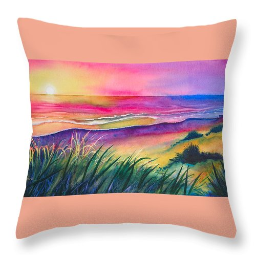 Pacific Throw Pillow featuring the painting Pacific Evening by Karen Stark