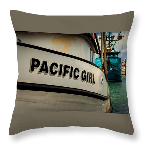 Boat Throw Pillow featuring the photograph Pacific Girl by Gina Marie Gothe