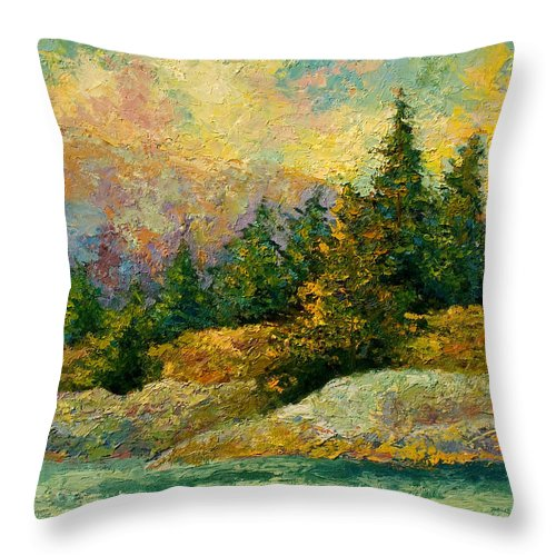 Alaska Throw Pillow featuring the painting Pacific Island by Marion Rose