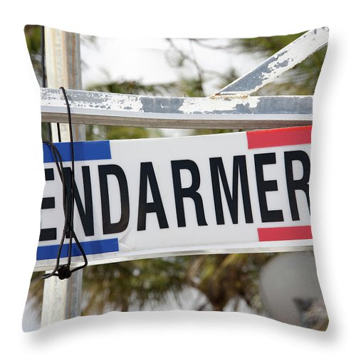 Sign Throw Pillow featuring the photograph Pacific Law by Ramunas Bruzas
