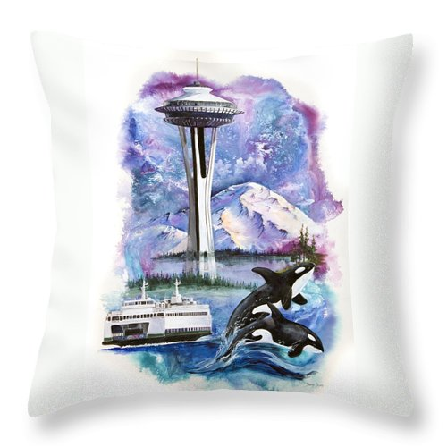 Mount Rainier Throw Pillow featuring the painting Pacific Northwest Montage by Sherry Shipley